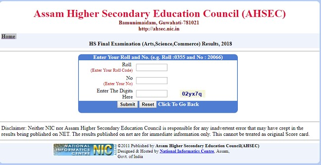 Assam AHSEC HS Result 2018