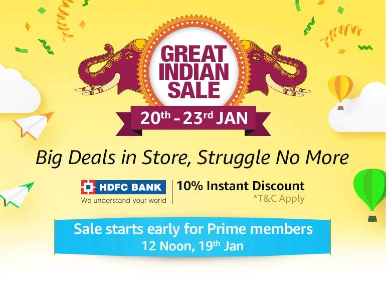 Amazon Great Indian Sale from 20th to 23rd January
