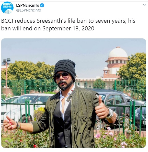 BCCI reduces Sreesanth's life ban to seven years